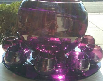 Purple Punch Bowl Set with 9 cups