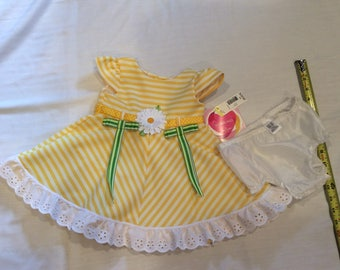 Easter, yellow sundress with bloomers, petticoat slip, eyelette lace, ribbon, toddler girl,baby