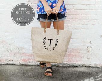 Personalized Tote, Large Monogrammed Purse, Burlap Initial Tote Bag, Burlap Bags, Burlap Tote Bag, Handbags, Weekender Bag Monogram Tote Bag