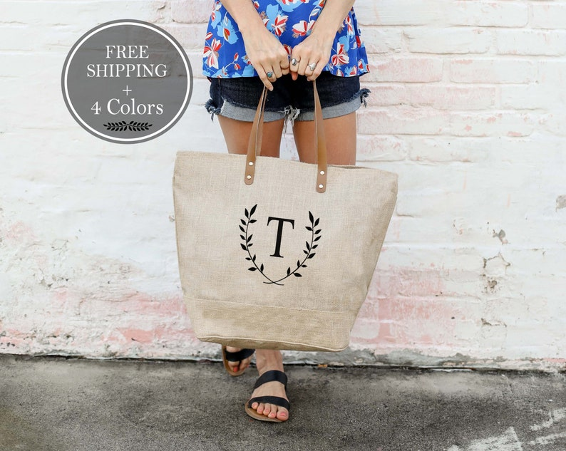 Personalized Tote Large Monogrammed Purse Burlap Initial image 0