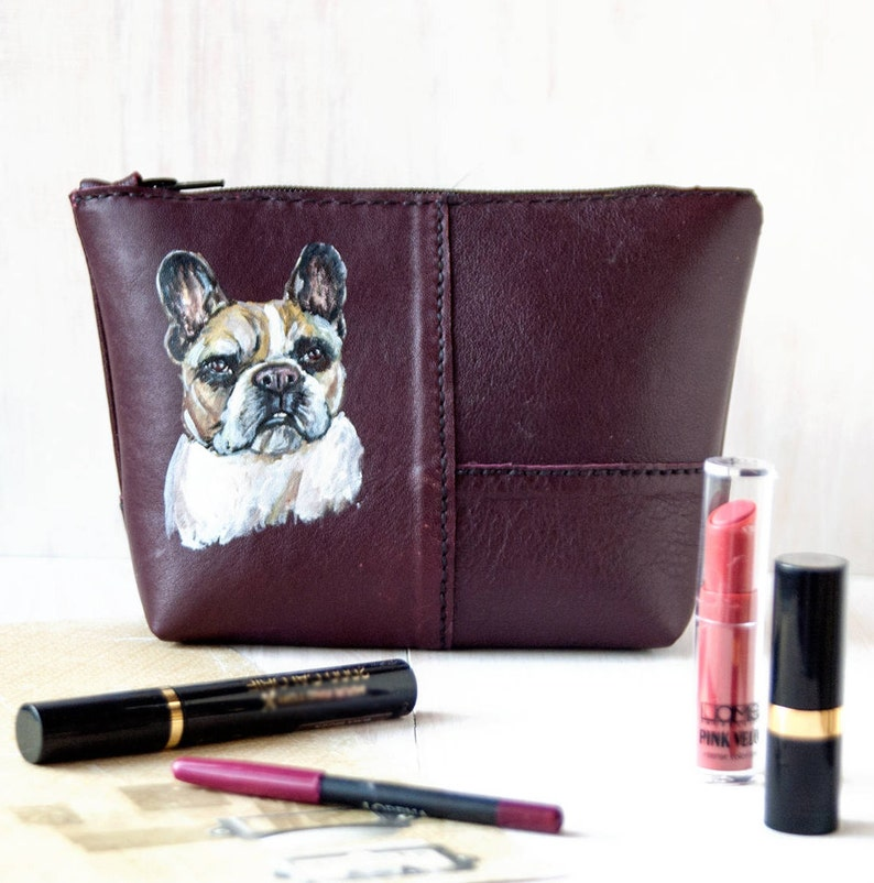 8f9f62e05117 Leather cosmetic bag with french bulldog, Small make up bag, Travel makeup  pouch