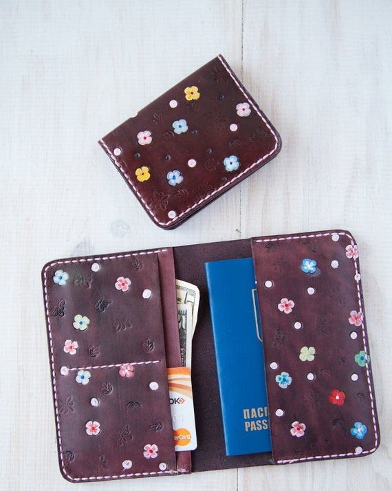 fd1cc533dfc0 Passport wallet and credit card holder fot woman Leather passport cover  with multicolor flowers and thin small travel wallet