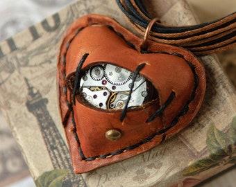 Broken heart necklace Steampunk original pendant design Mechanical 3d heart neckless His her necklace Leather steampunk heart pendant