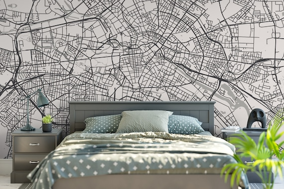 Street Wall Mural Any City and Size Minimalistic Removable Wallpaper Scandi Office Decor Personalized City Map Mural