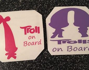 Trolls on Board Decal / Baby on Board Decal