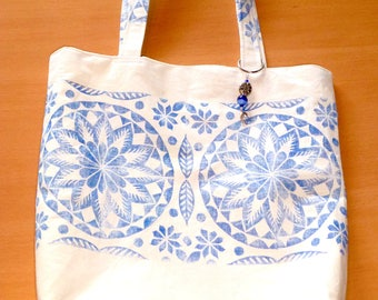 Original linocut printed and lined tote bag with beaded key fob.