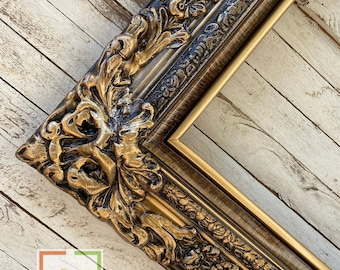"""Custom Picture Frame1/"""" Traditional w//Ornate TrimGreat for Photos /& Artwork"""
