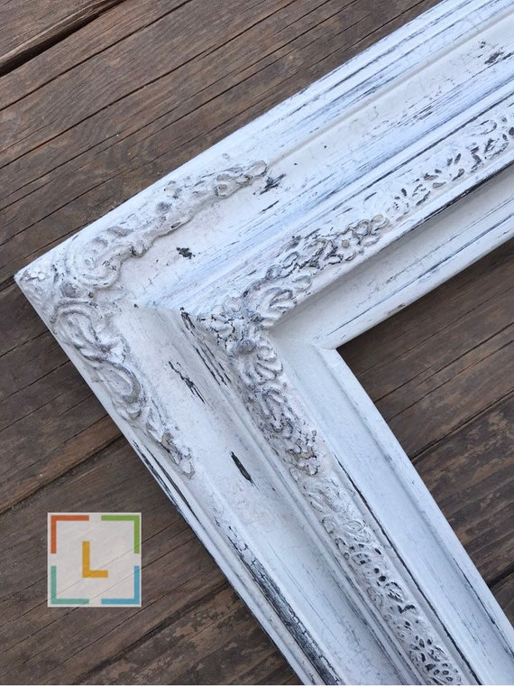 RUSTIC DISTRESSED BARN STYLE WOOD PICTURE FRAME WITH WHITE LINEN LINER CANVAS