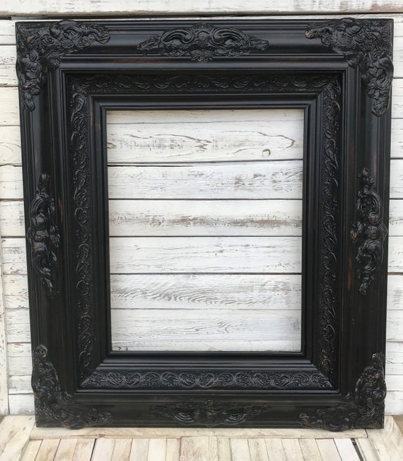 Baroque Shabby Chic Style Framedistressed Blackoil Painting Etsy