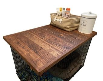 Dog Kennel Reclaimed Wood Top, recycled wood,Enlgish Chestnut,dog crate topper,pallet wood,custom made sizes,rustic furniture,dog furniture,
