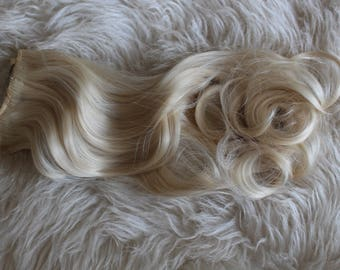 Hair Extensions Clip In Wavy 7 Piece High Quality Silk  Synthetic 20 Inch  (50cm) 613# Blonde