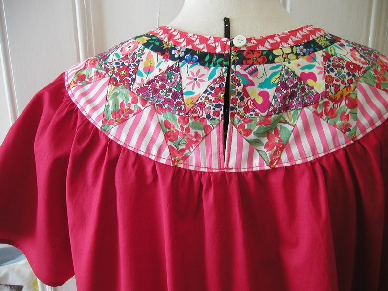 SALE !! Patchwork Red cotton smock top  Size UK 10-12