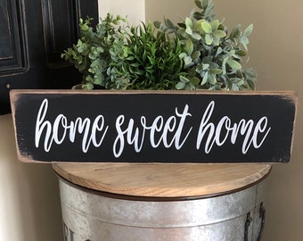 Home Sweet Home sign, Farmhouse sign, rustic home sweet home sign, black home sweet home sign
