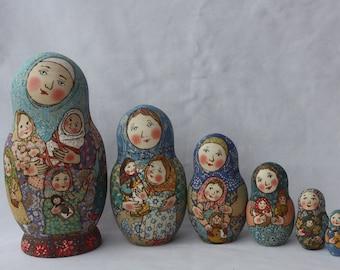 Matryoshka with matryoshka.Mother of many children.