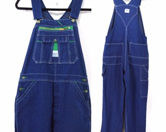 0f68697b81 Liberty Overalls Vintage 90s Bib Carpenter Farmer Painter Raw Hem 34 x 31  Dark Wash