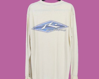 f7c8dac5 90s Rusty Surfboards Distressed Vintage 1997 Long Sleeve T Shirt Paper Thin Tee  Surfing Beach Skater Large Made USA Light Beige Super Soft