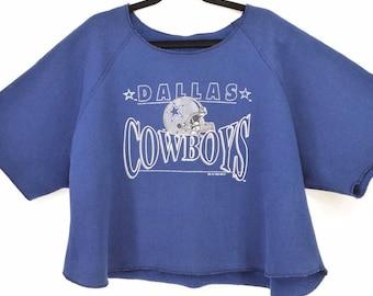 Dallas Cowboys Crop Top Sweatshirt Tee Vintage 90s 1993 NFL Large 90d40c322
