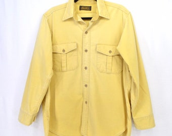c92ee3632178c Eddie Bauer Chamois Shirt Butter Yellow Vintage 80s 90s Thick Outdoors Large