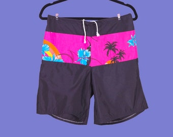 5e5b8897495ea Vintage 80s Board Shorts Swim Trunks Swim Suit Unlined Tropical Surf Beach  Large Hansley Miami Made In USA Pockets Drawstring Retro Hot Pink