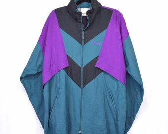 Vintage 90s Adidas Track Jacket Trefoil Spell Out Large Colorblock Teal  Purple Streetwear Athletic Sports 9597793c4f