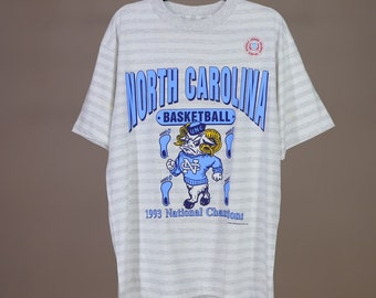 7c911147 Vintage 90s Carolina Tar Heels T Shirt 1993 National Champions NWOT XL UNC  Heather Gray & White Striped Retro Chapel Hill Basketball