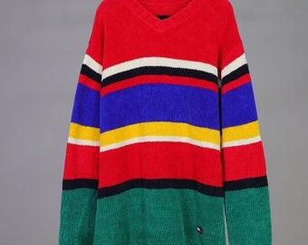 103da3c07b48fa Tommy Hilfiger Colorblock Sweater Super Soft Chenille Vintage 90s Primary  Colors Small Unisex Vertical Ribbed Bright Colorful V Neck