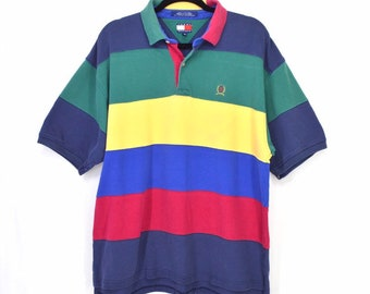 e38f7a6b Tommy Hilfiger Polo Rugby Shirt Colorblock Vintage 90s Short Sleeve XL  Streetwear Primary Colors Stripes Preppy