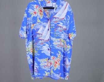 1b1f9da5 Liz Clairborne Hawaiian Shirt Lizwear Vintage 90s Rayon Medium Beach  Sailing Beautiful Bright Blue Drapey Breezy Easy Vacation Beach Ocean