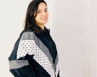 Vintage Black And White Jacket Lightweight Small 80s Polka Dots Stripes San Francisco Sport Connie Mazzella Cute Sporty Retro Normcore