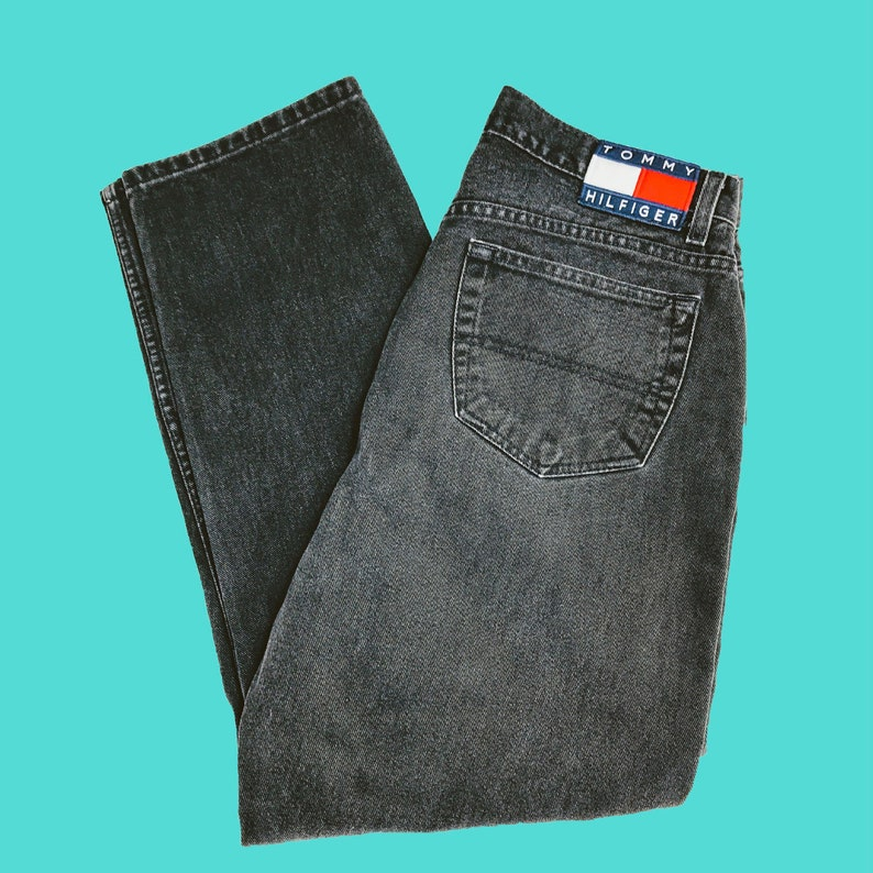 7377e914f91 Vintage Tommy Hilfiger Jeans Black Denim Spell Out Flag Logo