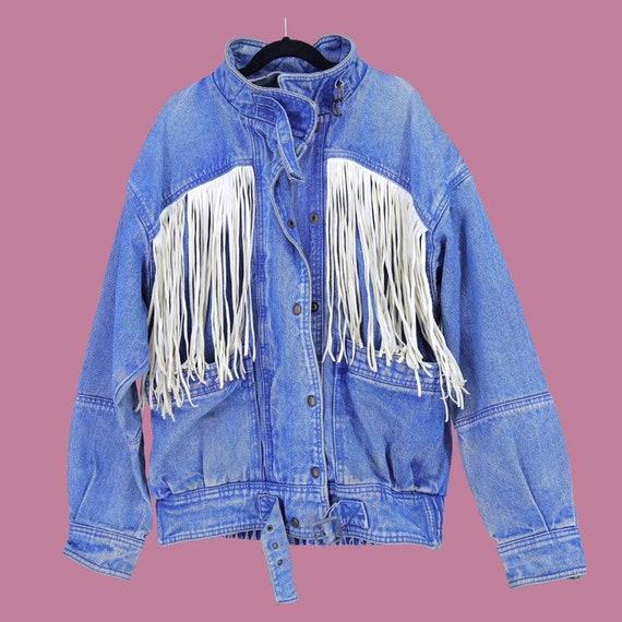 White Leather Fringed Jean Jacket Western Vintage