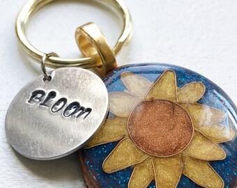 Inpirational BLOOM sunflower keychain