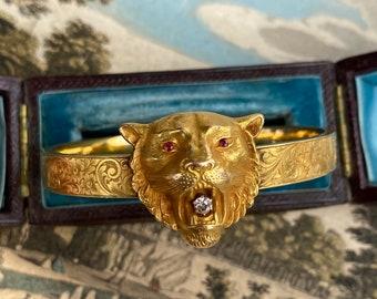 Antique 14K Ruby and Diamond Lion Bangle Bracelet - Art Nouveau