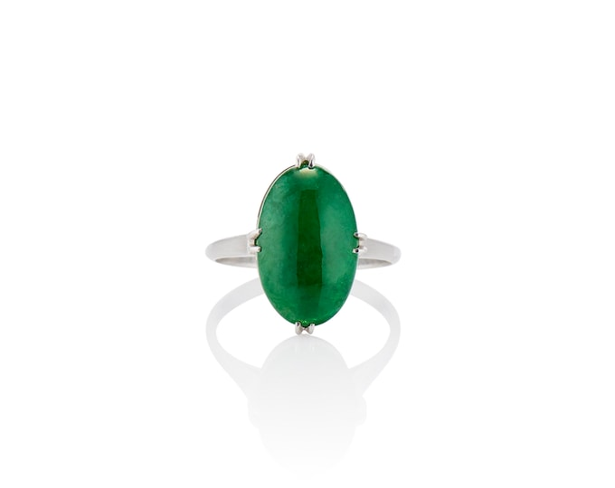 Featured listing image: Fine Natural Jadeite Ring in Platinum- Certified Untreated Jade Report by Mason Kay