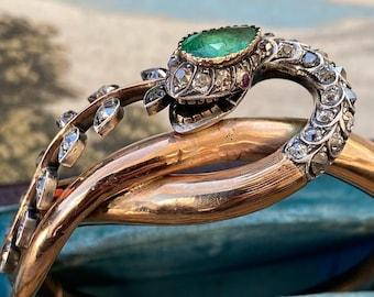 Antique Victorian 18K Emerald and Diamond Snake Bangle Bracelet