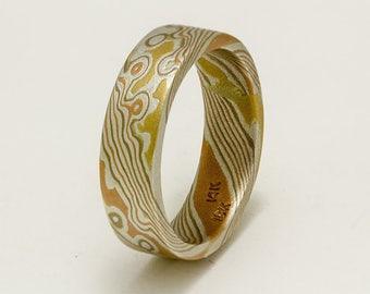 Custom Mokume Gane Ring 14k rose gold, 14k yellow gold and sterling  silver ring - woodgrain pattern