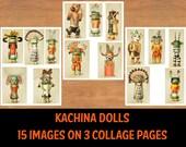 Printable Kachina Doll Images, Kachina Doll Collage Sheets, Scrapbooking, Junk Journals, Digital Collage, Native American Kachina Doll Art