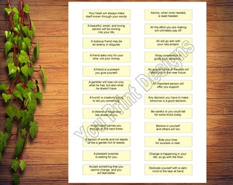 picture regarding Printable Fortune Cookie Sayings named Fortune cookie paper Etsy