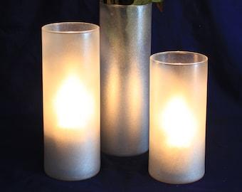 Silver Candle Holder, Silver Glitter Candle Holders, Glitter Candle Holder, Silver Glitter Centerpieces, Wedding Centerpiece, Wedding Decor