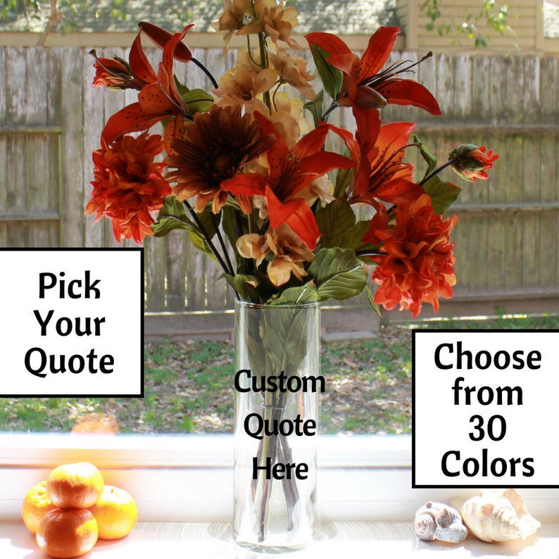 Personalized Vase Personalized Flower Personalized Flower Vase Personalized Quote Custom Flower Custom Vase Custom Quote Flower Vase