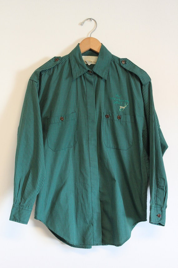 Vintage Button Up - Mixed Blues Checkered Shirt (9