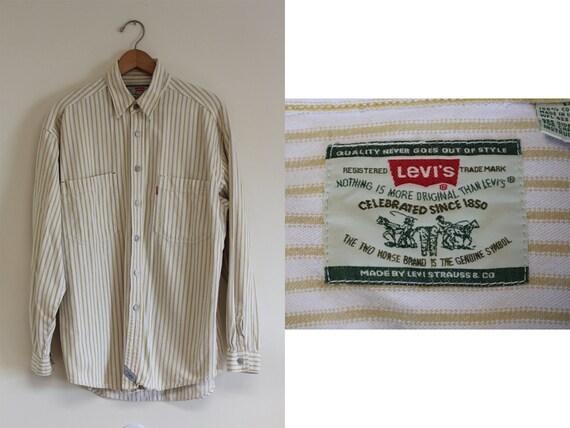 Vintage Button Up Levi's Striped Shirt (90s Era Medium M Button Down Shirt Oversized Shirt Baggy Shirt Off White Mustard)