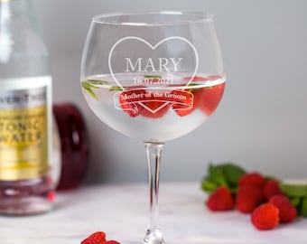 Hand etched glass.29 Bride and Groom Wedding Gin Glass Balloon gin glass- Gift for him Gift for Her
