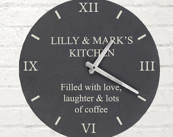 Personalised Any Message Slate Clock Round Wall Presents Gifts Ideas For Family Couple New Home House Warming Presents