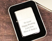 Personalised Silver Lighter Gifts Ideas For Him Her Happy Birthday Christmas Fathers Day Valentines Any Message