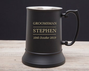 Personalised Wedding Gift Stainless Steel tankard Best Man Usher Father etc