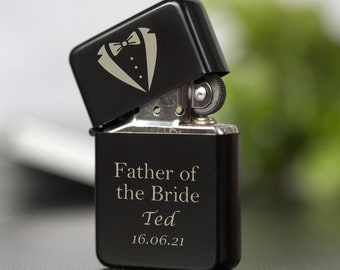 Personalised Father Of The Bride Black Lighter Gifts Ideas For Wedding Favours Thank You Presents For Him Male Mens