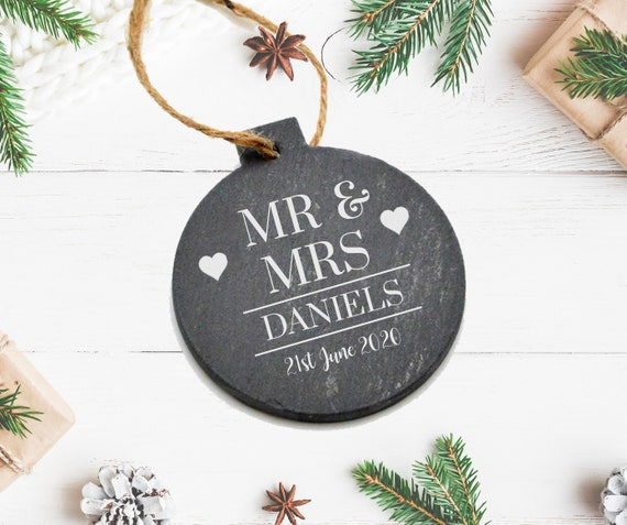 Personalised Slate Mr Mrs Bauble Decoration Gifts Ideas For Etsy