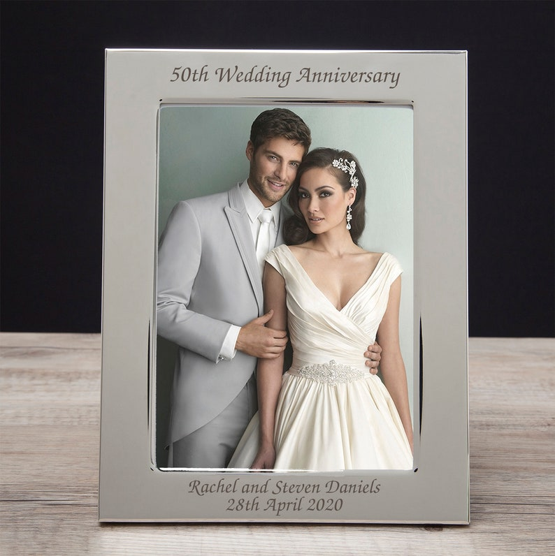 Personalised Engraved Wedding Anniversary Photo Frames Silver Ruby Diamond Gold Gifts Ideas Presents For 25th 30th 40th 50th 60th