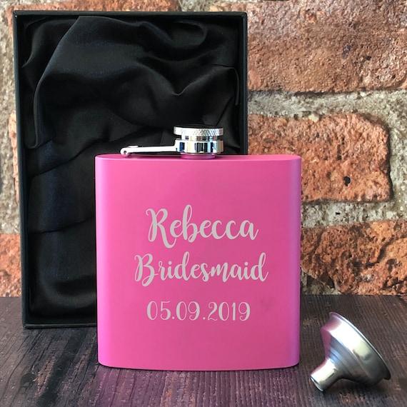 Personalised Engraved Wedding Hen Brides Gift Hip Flask Bride Pink Maid 5oz